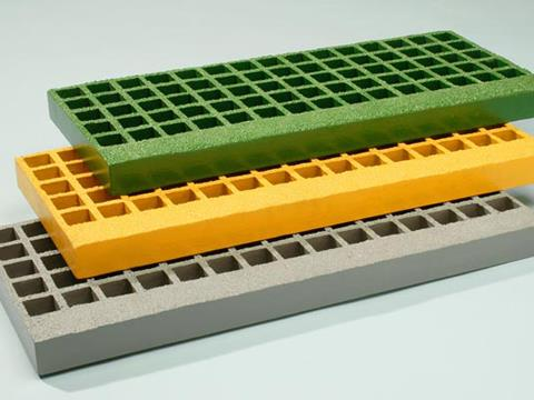 Fibre glas-reinforced resin gratings